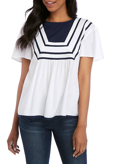 Crown & Ivy™ Short Sleeve Blocked Top
