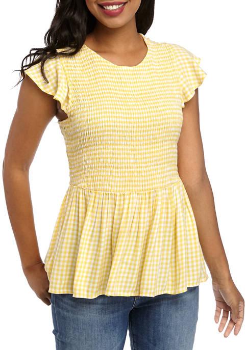 Crown & Ivy™ Womens Short Sleeve Smocked Peplum