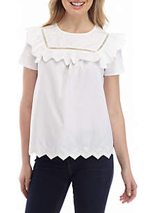 44779bc86ac ... Crown & Ivy™ Short Sleeve Embroidered Yoke Top