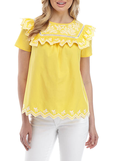 Crown & Ivy™ Short Sleeve Embroidered Yoke Top