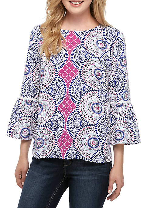 Printed Top with Bell Sleeves