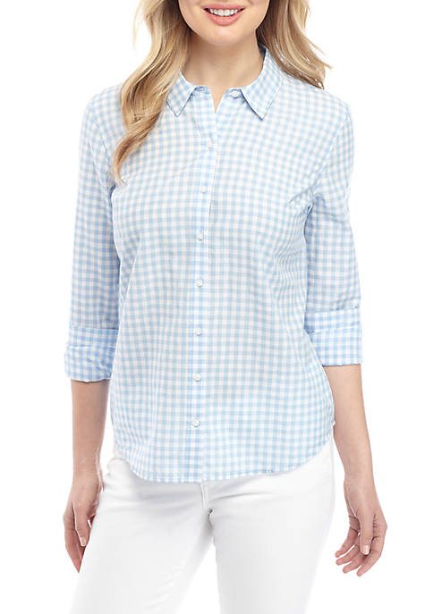 Crown & Ivy™ Long Sleeve Gingham Button Up