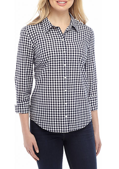 Crown & Ivy™ Womens Long Sleeve Gingham Button