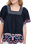 Short Sleeve Square Neck Embroidered Peasant Top