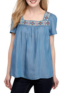 515d846e2c7 New Directions® Stripe Popover Top · Crown & Ivy™ Short Sleeve Square Neck  Embroidered Yoke Top