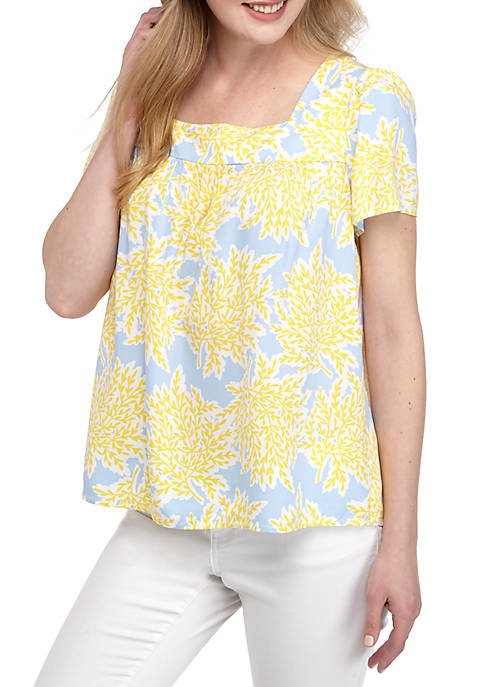 Crown & Ivy™ Short Sleeve Square Neck Printed