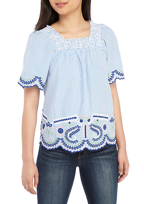 Crown & Ivy™ Womens Short Sleeve Square Neck