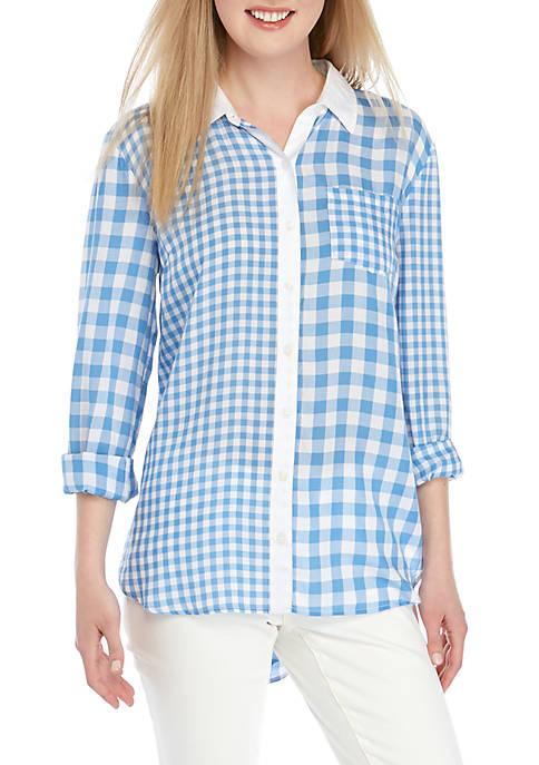 Long Sleeve Gingham Tunic
