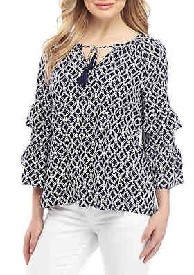 f9dd98526502 Crown & Ivy™ Ruffle Sleeve Printed Blouse ...