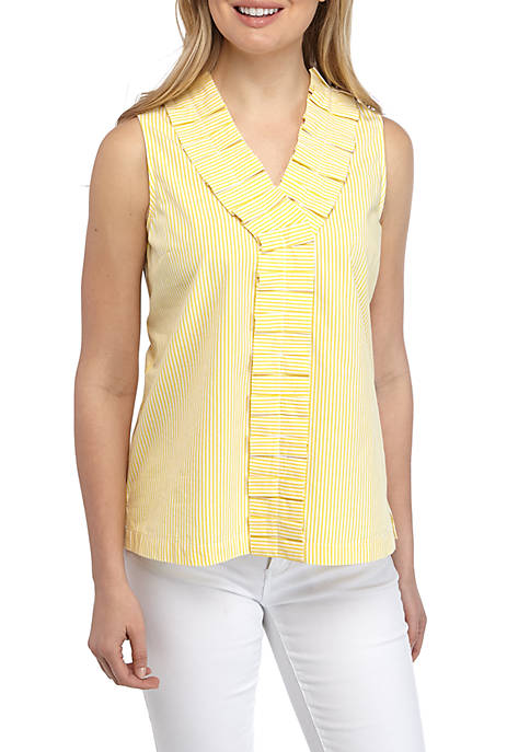 Sleeveless Pleated Front Top