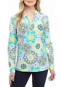 Crown & Ivy™ Long Sleeve Embroidered Printed Kurta Top