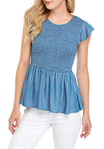 Crown & Ivy™ Short Sleeve Smocked Peplum Top