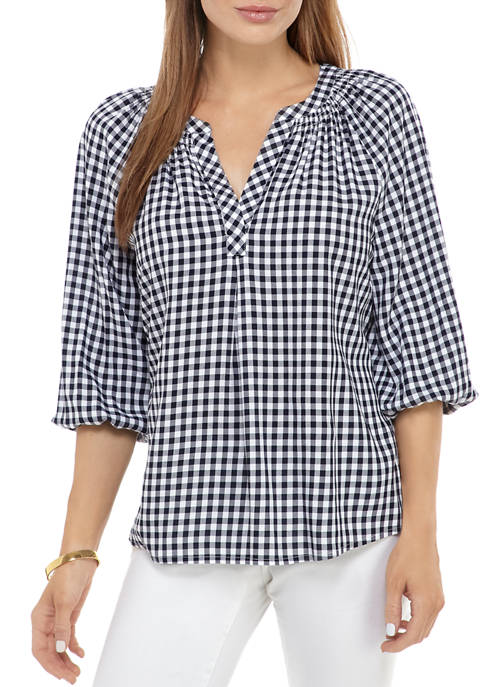 Crown & Ivy™ 3/4 Split Neck Gingham Peasant