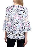3/4 Sleeve Crochet Peasant Print Top