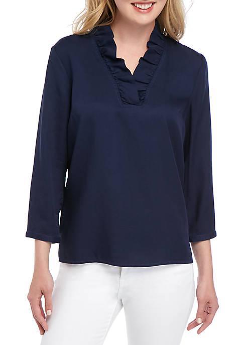 3/4 Sleeve Ruffle Neck Top