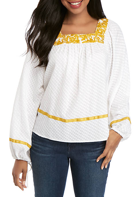 Crown & Ivy™ Long Sleeve Embroidered Square Neck
