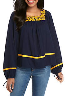 Crown & Ivy™ Long Sleeve Embroidered Square Neck Top