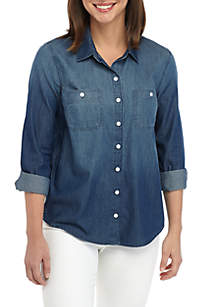 Crown & Ivy™ Long Sleeve Button Down Denim Shirt