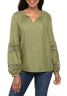 Crown & Ivy™ Long Sleeve Tie Front Embroidered Top