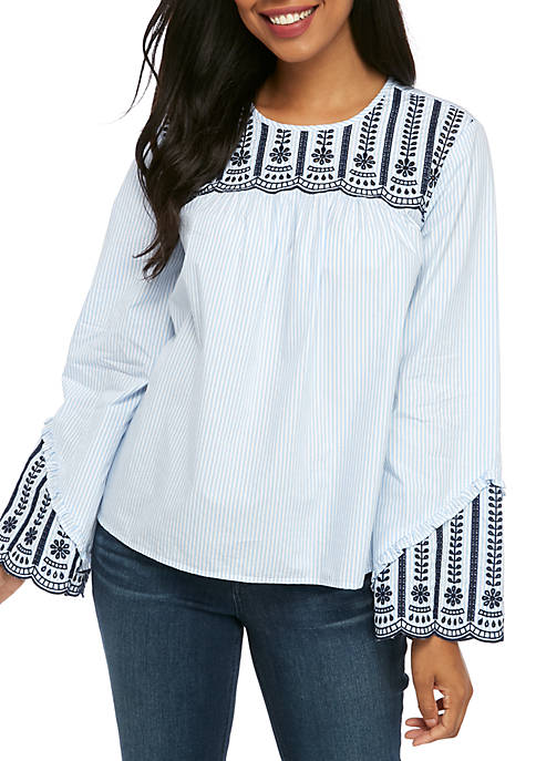 Crown & Ivy™ Long Sleeve Embroidered Scoop Top