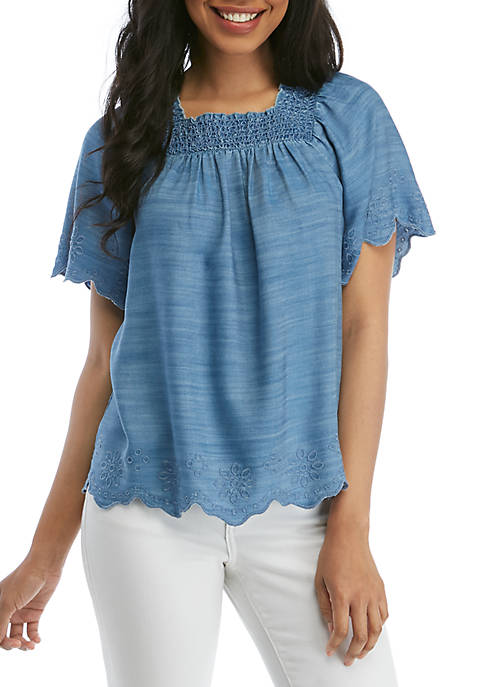 Crown & Ivy™ Short Sleeve Square Neck Scalloped