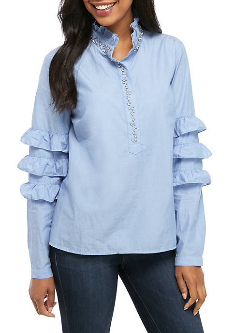 Crown & Ivy™ Long Sleeve Ruffle Jeweled Top