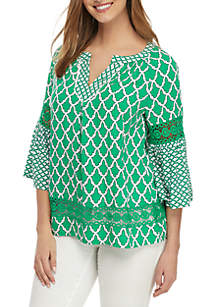 Crown & Ivy™ 3/4 Sleeve Peasant Top