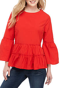 Crown & Ivy™ Long Sleeve Tier Flounce Top