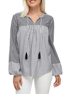 Crown & Ivy™ Long Sleeve Blocked Peasant Top
