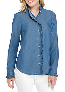 Crown & Ivy™ Long Sleeve Denim Button Up Top