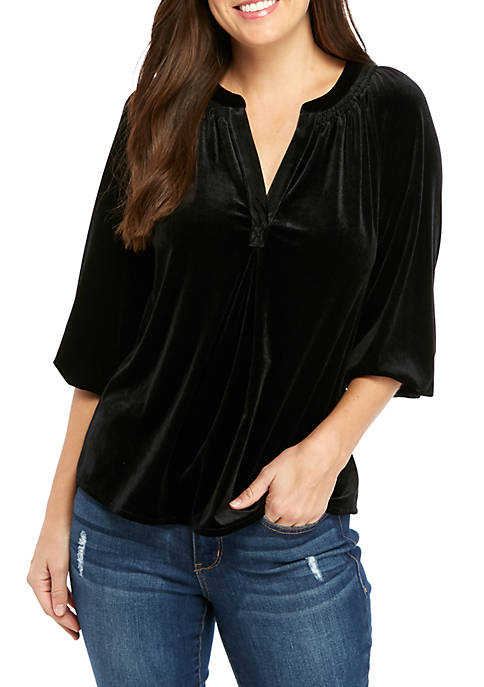Crown & Ivy™ Womens Y Neck Peasant Top
