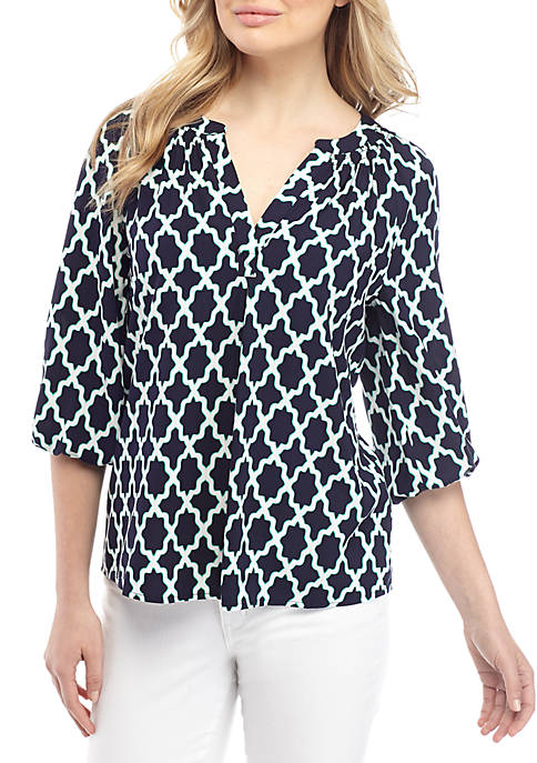 Womens 3/4 Sleeve Y Neck Peasant Blouse