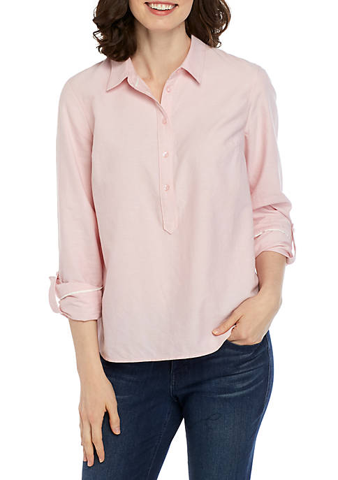 Crown & Ivy™ Womens Long Sleeve Button Down