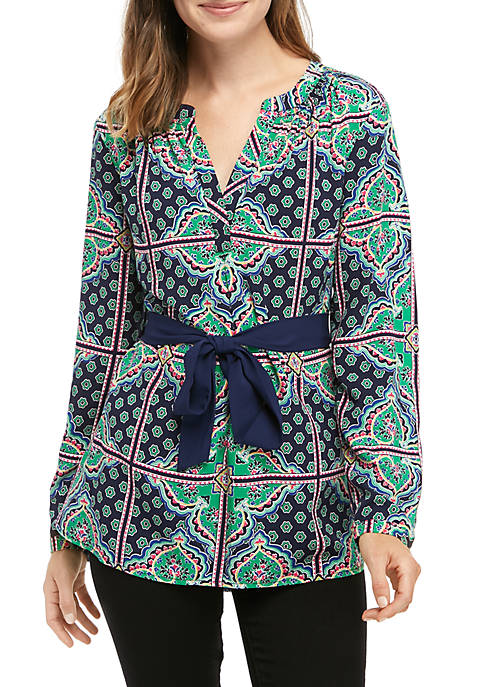 Crown & Ivy™ Womens Long Belted Tunic Printed