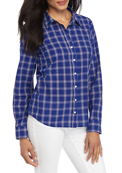 Crown & Ivy™ Long Sleeve Button Up Shirt