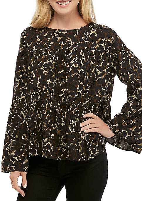 Crown & Ivy™ Womens Long Sleeve Button Back