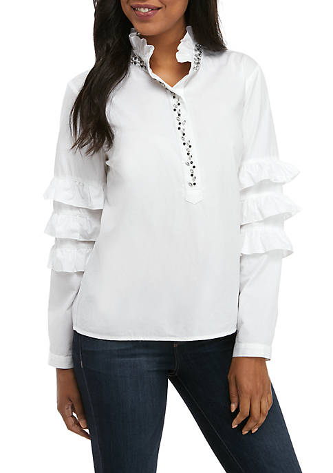 Crown & Ivy™ Womens Long Sleeve Ruffle Jeweled