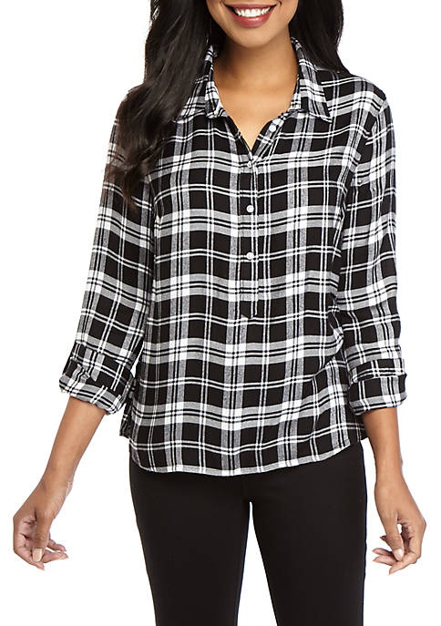 Crown & Ivy™ Womens Long Sleeve Woven Shirt