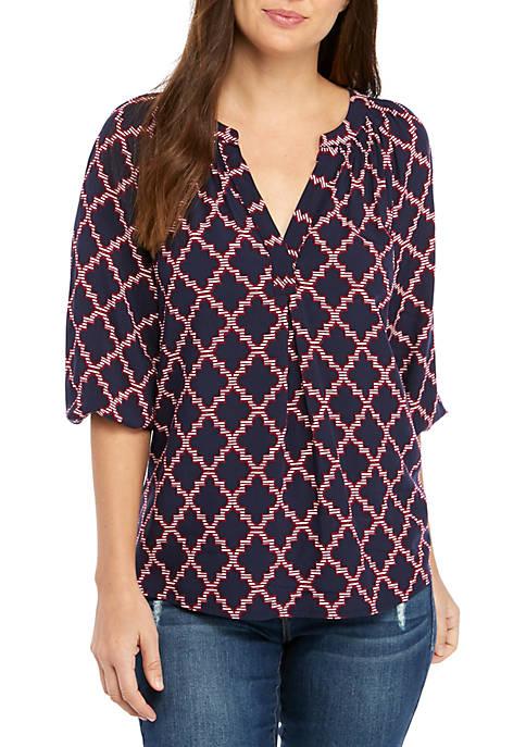 Crown & Ivy™ 3/4 Sleeve Split Neck Printed