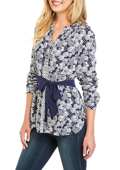 Womens Long Sleeve Belted Tunic
