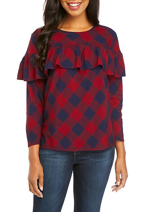 Crown & Ivy™ 3/4 Sleeve Ruffle Top