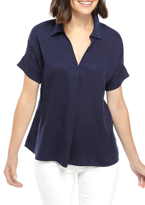 Womens Short Dolman Sleeve Popover Shirt