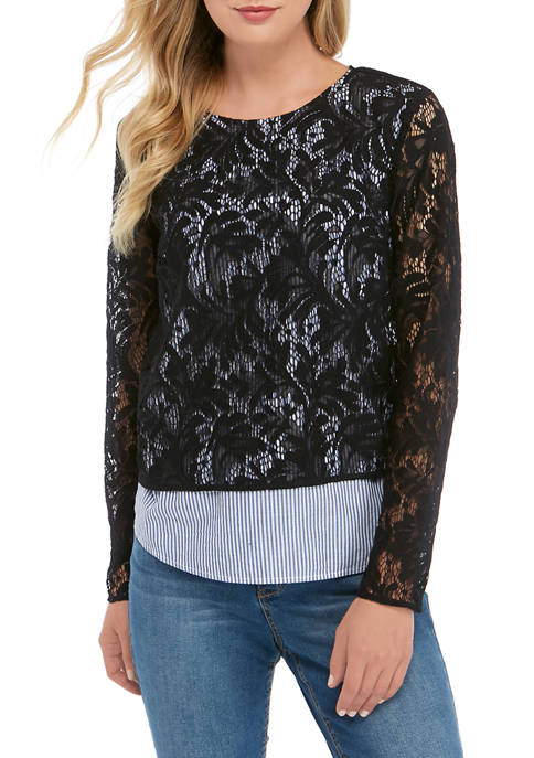 Crown & Ivy™ Womens Lace 2Fer