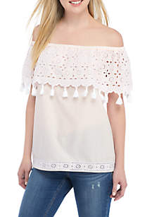 Embroidered Off-The-Shoulder Tassel Top