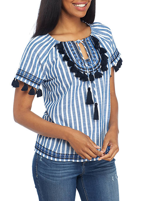 Crown & Ivy™ Embroidered Stripe Top