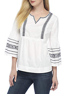 Embroidered Lace Peasant Top