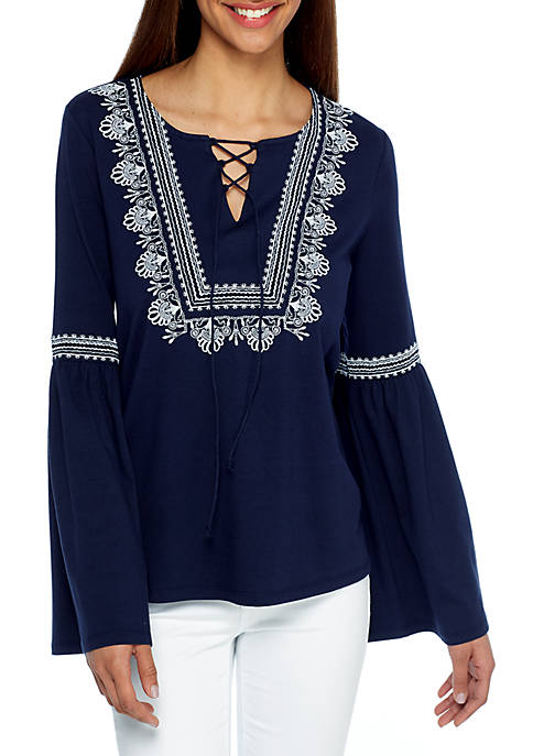 Crown & Ivy™ Embroidered Lace Peasant Top