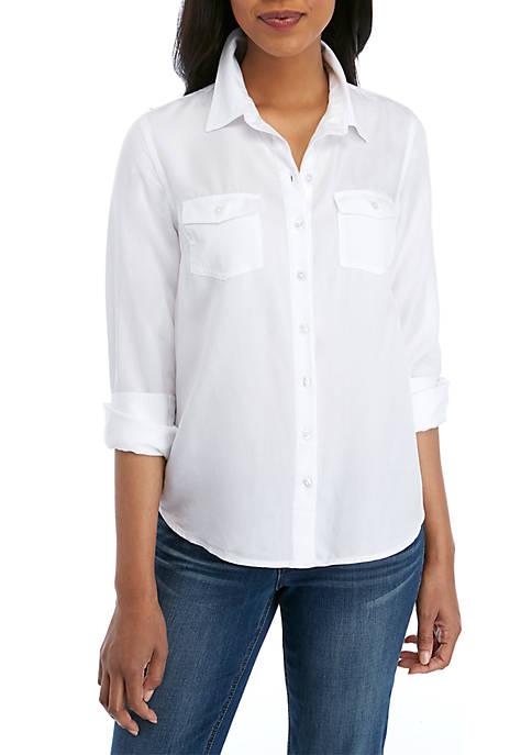 Crown & Ivy™ Basic Tencel Button Down Shirt