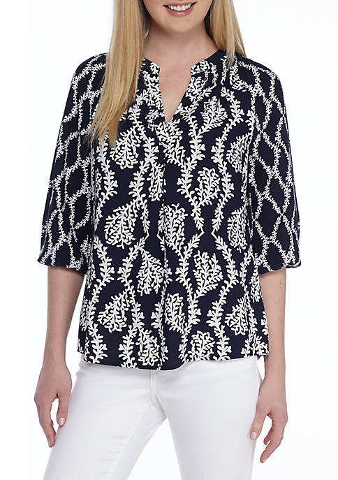 Crown & Ivy™ Core Woven Peasant Top