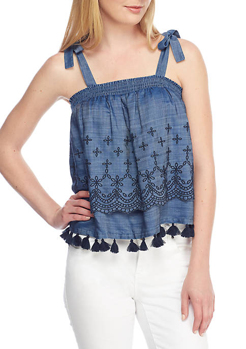 Crown & Ivy™ Embroidered Tie Tank